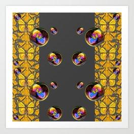 SURREAL IRIDESCENT SOAP BUBBLES & BUTTERFLIES Art Print