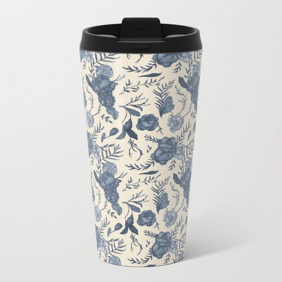 Blue Floral Pattern Metal Travel Mug