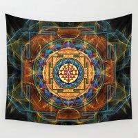 sacred geometry Wall Tapestries featuring The Sri Yantra - Sacred Geometry by Olga Kuczer - Art of the Sacred Geometry