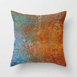 Vintage Rust, Copper and Blue Throw Pillow