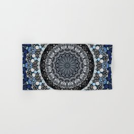 Dark Blue Grey Mandala Design Hand & Bath Towel