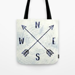 Compass in Navy Blue Tote Bag