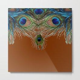 COFFEE BROWN BLUE-GREEN PEACOCK FEATHERS ART Metal Print