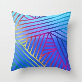 Rainbow Ombre Pattern with Blue Background Throw Pillow