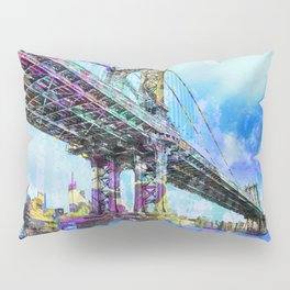 New York City Manhattan Bridge Blue Pillow Sham