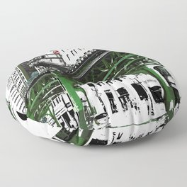 Chicago photography - Chicago EL art print in green black and white Floor Pillow