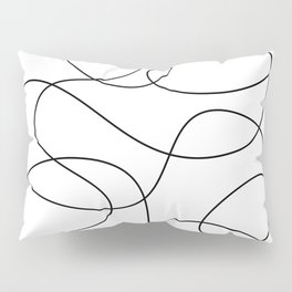 Minimal Black and White Abstract Line Pillow Sham