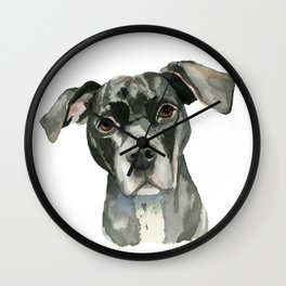 Black Pit Bull Dog Watercolor Portrait Wall Clock