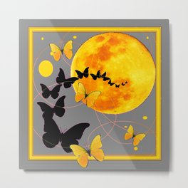 Butterfly Moon in Charcoal Grey Color Art Abstract Metal Print