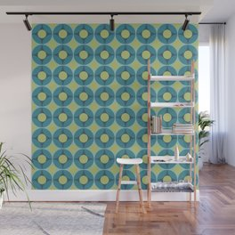 Geometric Circle Pattern Mid Century Modern Retro Blue Green Wall Mural