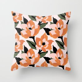 Bold orange poppy on a soft pink base Throw Pillow