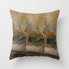 mountain in yellow sky Throw Pillow