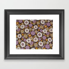Retro floral sheet purples Framed Art Print