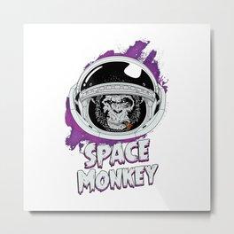 Space Monkey Retro Classic Metal Print