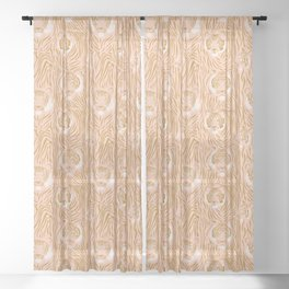 Tigers in Blush + Gold Sheer Curtain