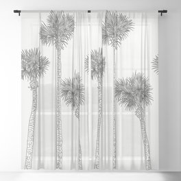 Six Palm Trees Sheer Curtain
