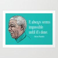 mandela Art Prints featuring Mandela by Fortissimo6