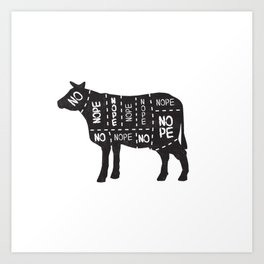 vegetarian vegan cow no meat cut chart diagram Art Print