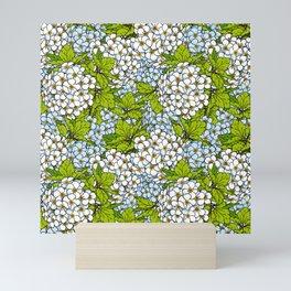 White Spirea Blossoms & Leaves Mini Art Print