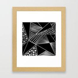 Modern geometrical black faux silver blush chic pattern Framed Art Print