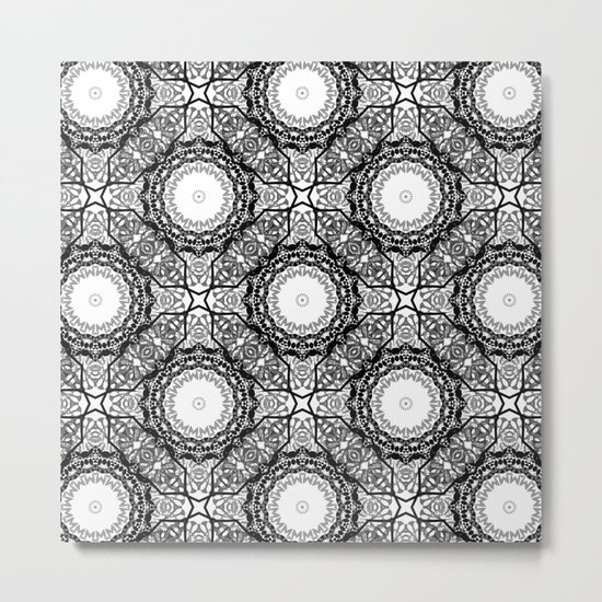 Black and white ornament . 7 Metal Print
