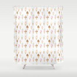 Watercolor Ice Cream Cones Shower Curtain