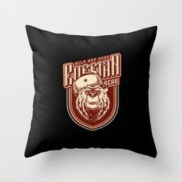 Russian wild bear  wearing the traditional Ushanka hat | Russian art. Throw Pillow
