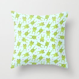 Kawaii Happy Frogs on Blue Throw Pillow
