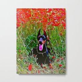 doberman dog red flowers meadow vector art Metal Print