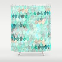 mermaid Shower Curtains featuring SUMMER MERMAID by Monika Strigel