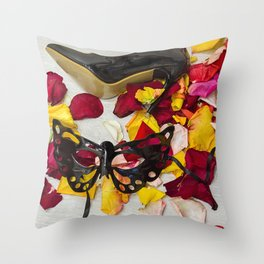 After masquerade - shoes, mask and rose petals Throw Pillow
