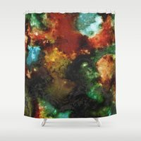 malachite Shower Curtains featuring Geode III, Malachite by Titania Designs