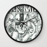 tomb raider Wall Clocks featuring Raider Nation by Holland Boyz Ink