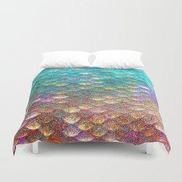 Aqua and Gold Mermaid Scales Duvet Cover