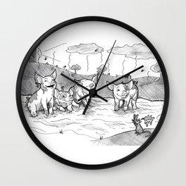 Mud Piggies Wall Clock
