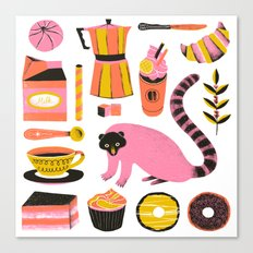 Super Coffee lovers set Canvas Print
