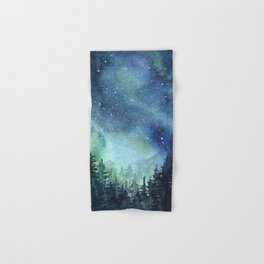Galaxy Watercolor Aurora Borealis Painting Hand & Bath Towel