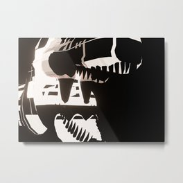 3d rendering illustration of a mechanical futuristic lighting T-rex in a dark black background Metal Print