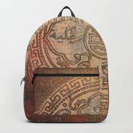 Antic Chinese Coin on Distressed Metallic Background Backpack