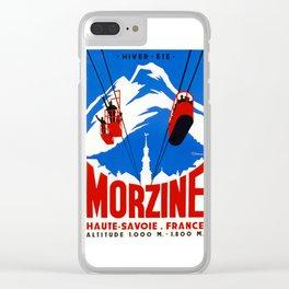 Vintage French Alps Gondola ski ad Clear iPhone Case