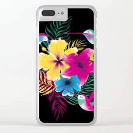 Tropical hummingbird pattern Clear iPhone Case