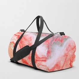 Luxury LIVING CORAL Agate Marble Geode Gem Duffle Bag