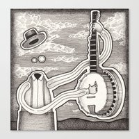 banjo Canvas Prints featuring Banjo by Ben Belcher
