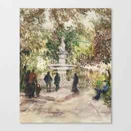Forsyth Fountain in the Park, Savannah, Georgia Canvas Print