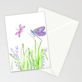 Dragonfly in pink and purple Stationery Cards