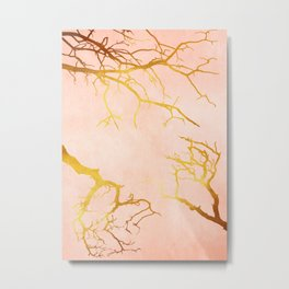 Golden Tree Branches on an Ocher and Pink Textured Metal Metal Print