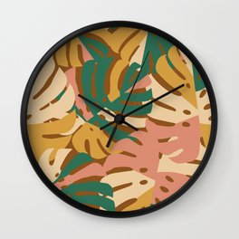 Monstera Leaves - Gold - Green - Pink Wall Clock