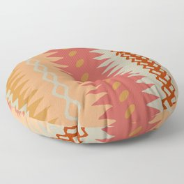 Assorted Zigzags And Waves Sienna Peach Grey Floor Pillow