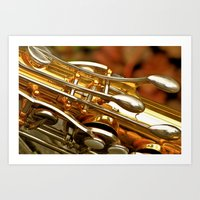 saxophone Art Prints featuring Saxophone by JudithsPhotos