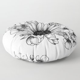 Bouquet of Flowers with Sunflower / Fall floral lineart Floor Pillow